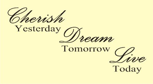 CHERISH YESTERDAY DREAM TOMORROW LIVE TODAY Vinyl Wall Art Awesome Inspirational Quotes For Today
