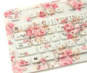 flowers, keyboard, and pink image
