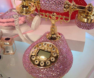 pink, phone, and gold image