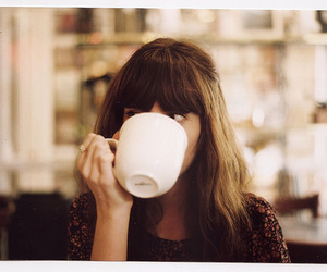 girl, coffee, and cup image