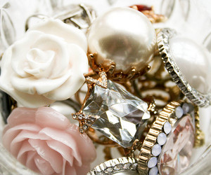 pearls, rings, and flowers image