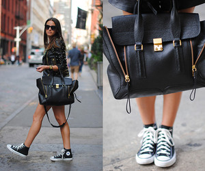 accessories, black leather, and converse image