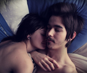 couple, piercing, and bed image