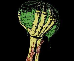 brain, hand, and zombie image
