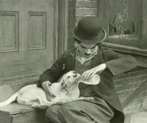 black and white, chaplin, and dog image
