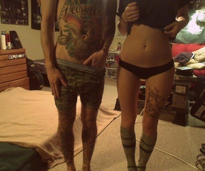 couple, tattoo, and Hot image
