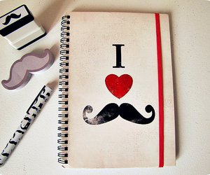 mustache, moustache, and notebook image