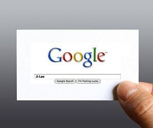 business card and google image