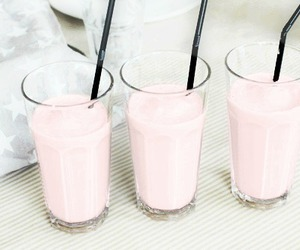 drink, pink, and milkshake image