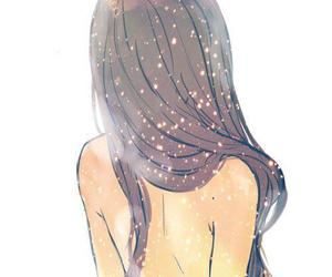 back, brunette, and drawing image