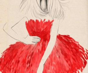girl, dress, and red image