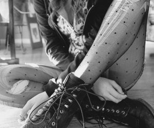 girl, black and white, and boots image
