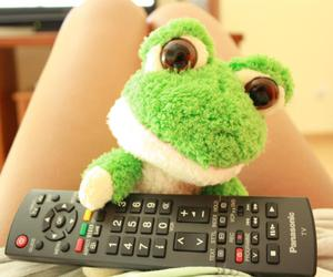 frog, toy, and girl image