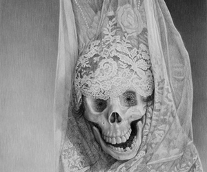 skull, black and white, and lace image