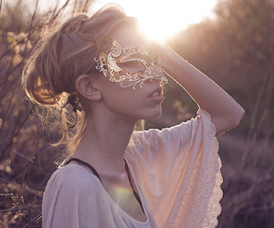 girl, mask, and pretty image