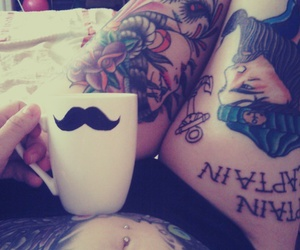 tattoo, girl, and mustache image
