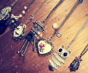 necklace, owl, and robot image