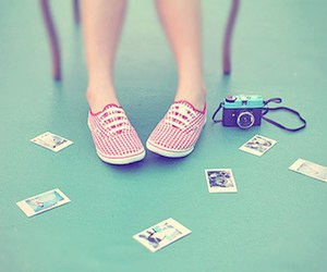 camera, shoes, and polaroid image