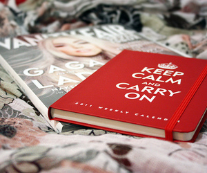 keep calm, book, and red image
