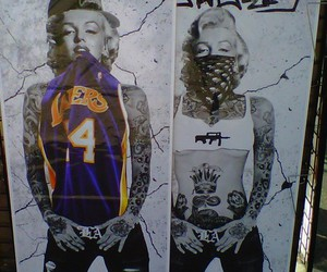 Marilyn Monroe, tattoo, and lakers image