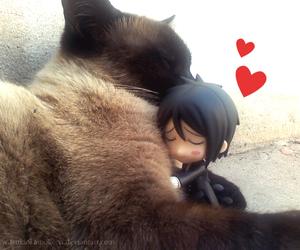 cat, hearts, and neko image