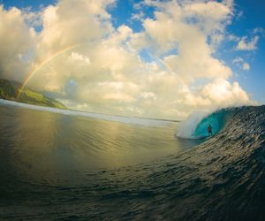 rainbow, surf, and waves image