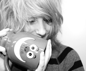 black and white, Cheshire cat, and cup image