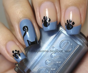 nails, cat, and blue image