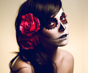 makeup, rose, and Halloween image