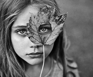 girl, black and white, and leaves image