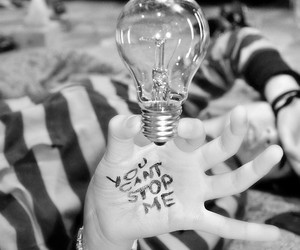 black and white, bulb, and quote image