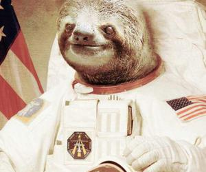 sloth, astronaut, and space image