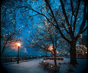 light, winter, and snow image