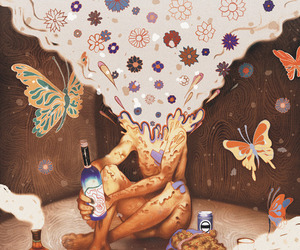 art, drugs, and butterfly image