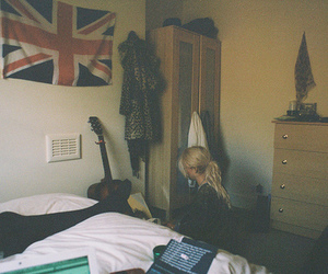 girl, room, and flag image