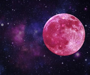 moon, pink, and stars image