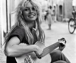 brigitte bardot, guitar, and vintage image