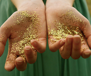 glitter, gold, and hands image