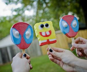 spiderman, spongebob, and ice cream image