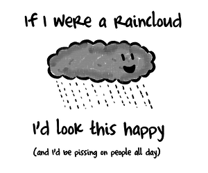 happy, rain, and clouds image