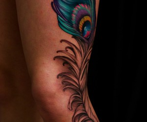 feather, peacock, and tattoo image