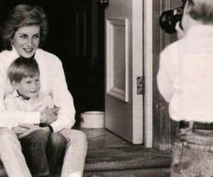 black and white, lady diana, and mother and son image