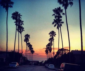 sunset, car, and palms image