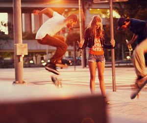 girl, boy, and skate image