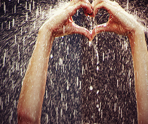 heart, love, and rain image