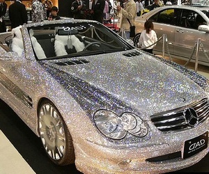 car, diamond, and mercedes image
