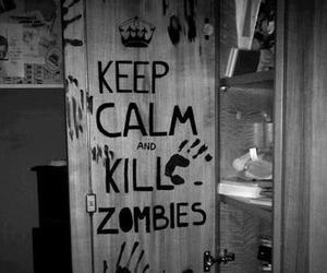 keep calm, black and white, and kill image