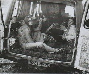 hippie, black and white, and van image