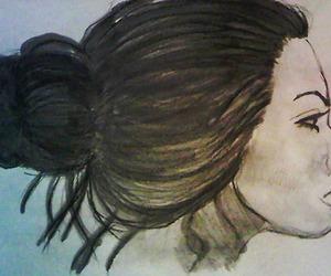 art, bun, and color pencils image