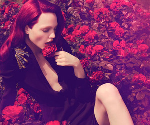 fashion, flowers, and redhead image